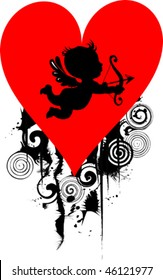 Happy Cupid with bow and arrow - vector illustration;