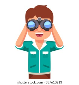 Happy and curious little boy kid looking through binoculars. Flat style vector illustration isolated on white background.