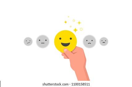 Happy customer, satisfaction clients, concept design