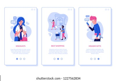 Happy customers sharing positive feedback and experience of successful shopping. Online store marketing and advertising onboarding mobile app page screens with people on shopping sending reviews.
