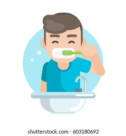 Happy cute boy brushing teeth in bathroom, Vector character illustration.