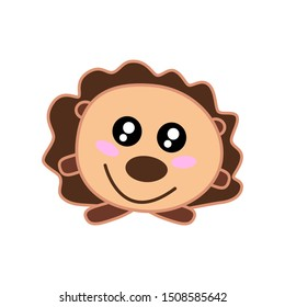 Happy cute brown cartoon prickly kawaii hedgehog with big eyes, pink cheeks, thorns, needles is standing on its paws, smiling. Vector flat pet illustration, forest animal isolated on white background