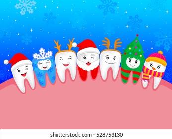 happy cute cartoon tooth. illustration. snowflake, Santa Claus, Xmas tree, deer, snowman. great for celebrate Christmas.
