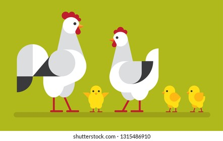 Happy, cute chicken family flat illustration on green background. Hen, cock and chick vector icon set.