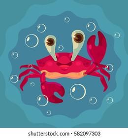 Happy cute crab character. Vector flat cartoon illustration