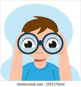 Happy cute curious liitle kid boy is looking through binoculars. Big eyes in binoculars. Vector flat cartoon illustration