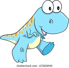 Happy Cute Dinosaur Vector