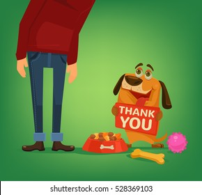 Happy cute dog character hold plate with thank you words to owner. Vector flat cartoon illustration