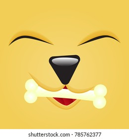 Happy Cute Emoticon dog face close up with bone in mouth. Square emoji. Isolated Vector Illustration