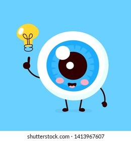 Happy cute eyeball with lightbulb character.Vector flat style illustration icon design. Isolated on white background. Eye have idea concept