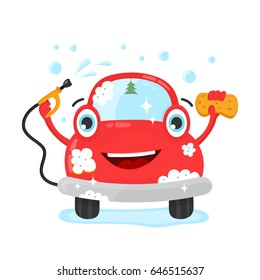 Happy cute fun clear car with hose and washcloth. Vector flat modern style illustration character icon design. Isolated on white background. Car wash services, auto cleaning, self-service concept