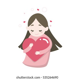 Happy cute girl's hugging heart with love feeling, vector cartoon illustration.