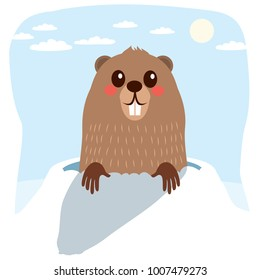 Happy cute groundhog celebrating groundhog Day with long shadow meaning six more weeks of winter