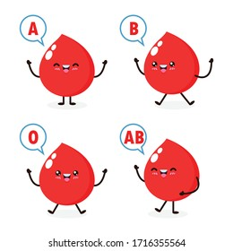 happy Cute healthy blood drop character, Blood type group, set of cute blood types in different actions with red blood cells decoration Isolated on white background.