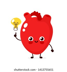 Happy cute heart with lightbulb character.Vector flat style illustration icon design. Isolated on white background. Heart have idea concept