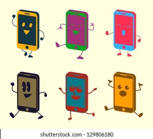 Happy Cute Kawaii Smart Phone Characters