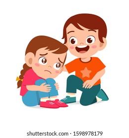 happy cute kid boy comfort crying friend