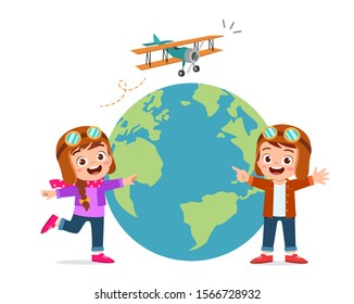 happy cute kid boy and girl with plane and globe vector