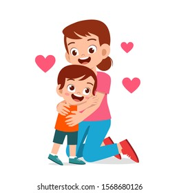happy cute kid boy hugging mom love