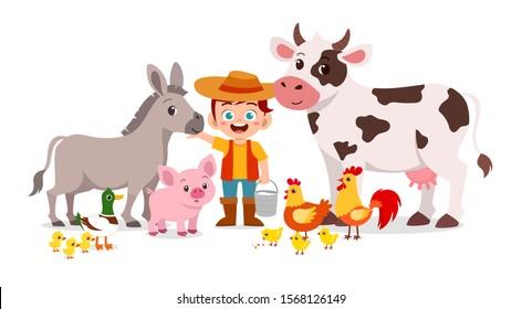 happy cute kid boy live in farm with animal vector
