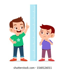 happy cute kid boy measure height together vector