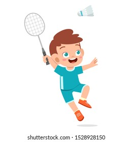 happy cute kid boy play train badminton