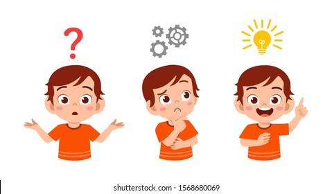 happy cute kid boy searches idea process