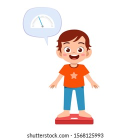 happy cute kid boy use weight scale vector