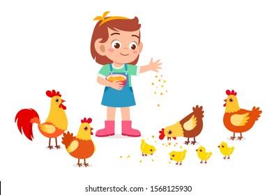 happy cute kid girl feeding cute chicken vector