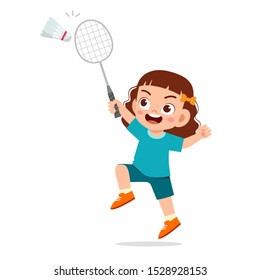 happy cute kid girl play train badminton