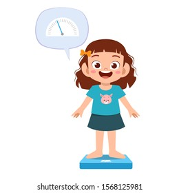 happy cute kid girl use weight scale vector