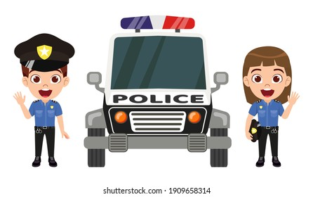 Happy cute kid smart boy and girl character wearing police outfits with cap and waving isolated with police car