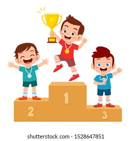 happy cute kid win game gold trophy