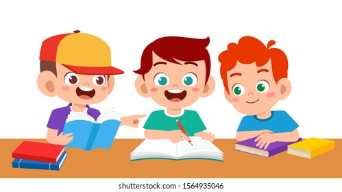 happy cute kids boy and girl study vector