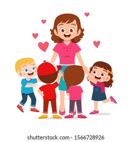 happy cute kids boy and girl with mom vector