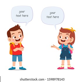happy cute kids boy and girl talking each other
