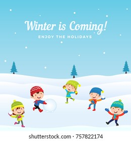 Happy Cute Kids Group Playing Snowball fight game at Winter Season Holiday in Snowy Ground Background. Greeting Card, Banner, Poster Template.