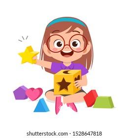 happy cute kids play learn 3d geometry