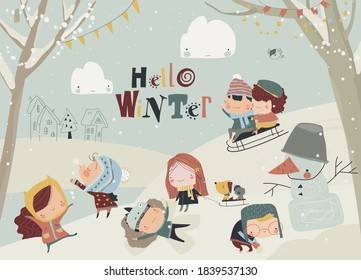 Happy cute kids playing winter games. Hello winter