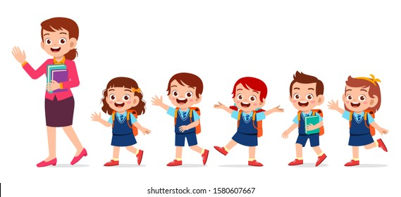 happy cute kids smile with teacher together