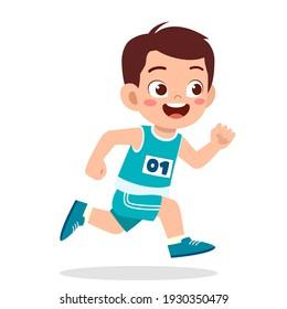 happy cute little boy run in marathon game