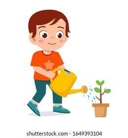 happy cute little kid boy watering flower