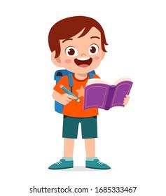 happy cute little kid boy read book