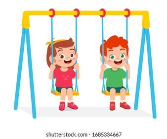 happy cute little kid boy and girl play swing