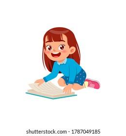 happy cute little kid boy girl read study learn story book school