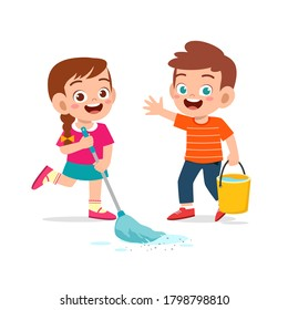 happy cute little kid boy and girl do chores cleaning floor