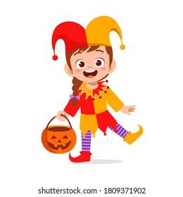 happy cute little kid boy and girl celebrate Halloween wears clown costume