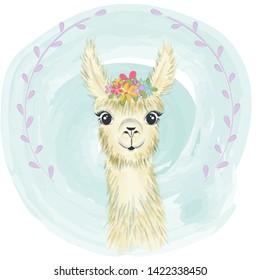 Happy cute little llama smiling
