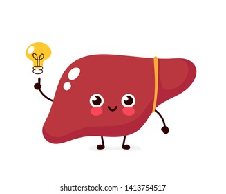 Happy cute liver with light bulb character.Vector kawaii flat style illustration icon design.Isolated on white background.Healthy liver have idea face,kids,children illsutration character logo concept