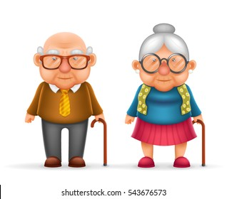 Happy Cute Old Man Lady Grandfather Granny 3d Realistic Cartoon Family Character Design Isolated Vector Illustration